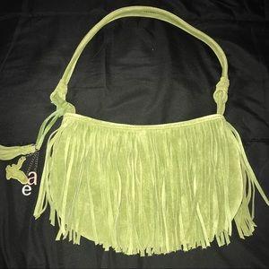 American Eagle Green Suede Fringe Handbag
